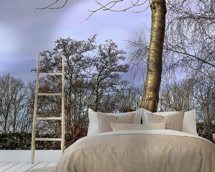 Sfeerimpressie behang: Boom in het voorjaar gesnoeide takken van ellenilli .