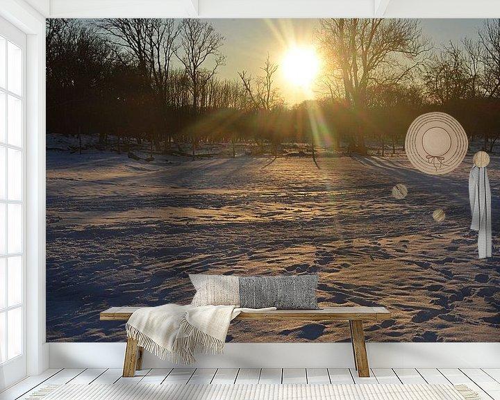 Sfeerimpressie behang: Zonsondergang in de sneeuw van JTravel