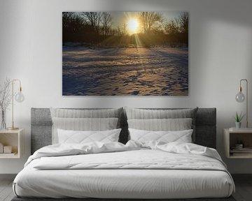 Zonsondergang in de sneeuw