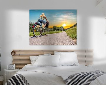 jonge vrouw met de fiets op de Donau fietsroute van Animaflora PicsStock