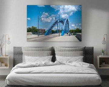 Sternbrücke über den Fluss Elbe bei Magdeburg von Heiko Kueverling