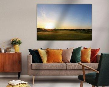 Zonsondergang Texelse Golfbaan van Peter van Weel