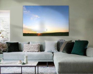 Texelse Golfbaan hole vlag in zon van Peter van Weel