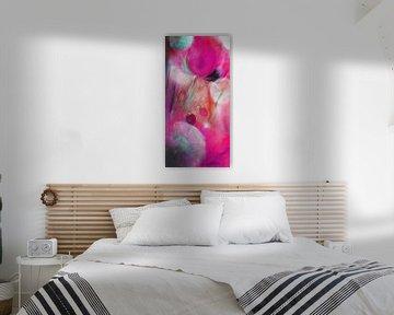 Mohn und Pusteblumen, pink