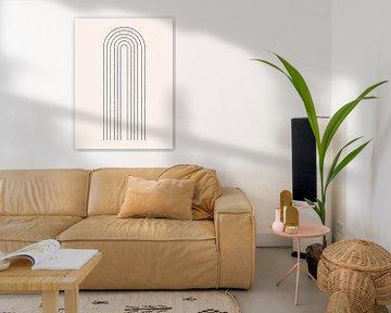 Retro 1920er Jahre Vintage inspiriertes Poster mit geometrischer Form im Bauhaus-Stil. Modernes abst von Dina Dankers