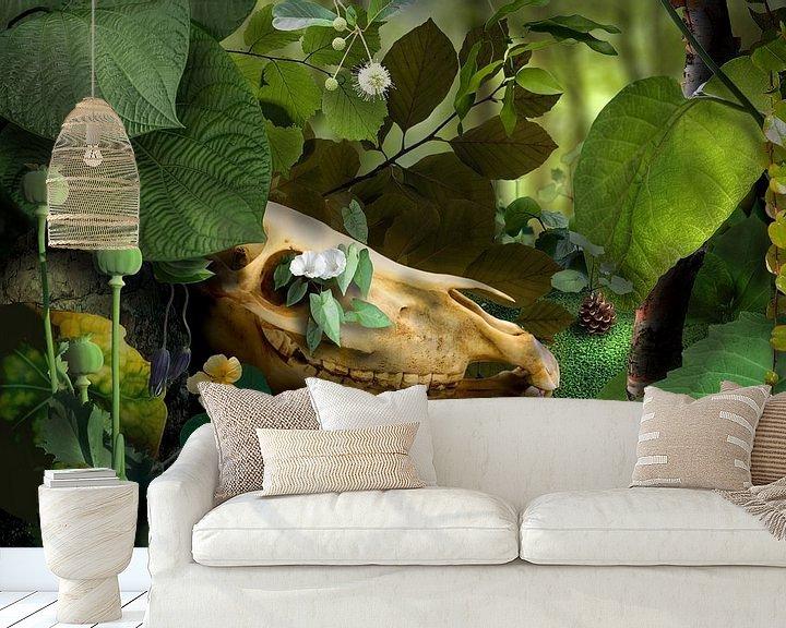 Sfeerimpressie behang: Surrealistisch landschap van Marijke van Loon