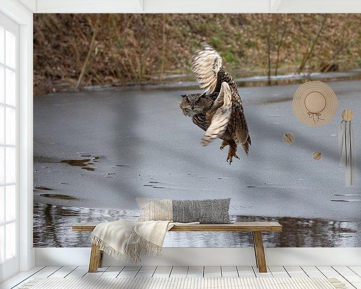 Beispiel fototapete: Flug eines europäischen Uhus (1/7) von Robin Scholte