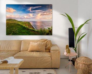 Zonsondergang bij de vuurtoren, Ferraria, Sao Miguel, Azoren van Sebastian Rollé - travel, nature & landscape photography