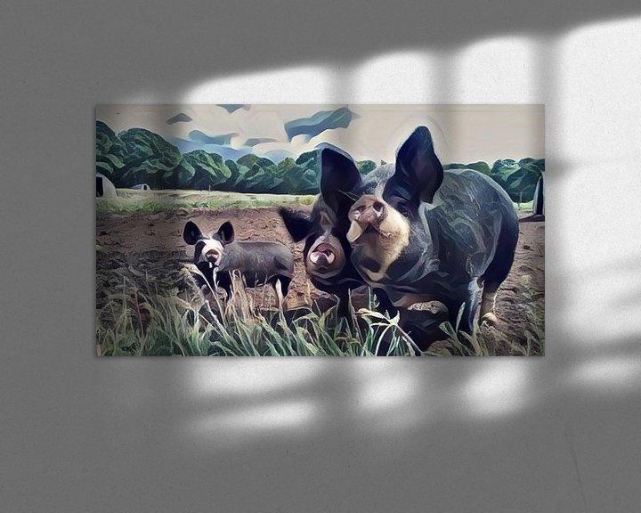 Beispiel: Surrealistische Malerei von farbigen Schweinen auf einer Wiese von Twentse Pracht