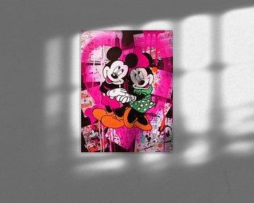 Mickey und Minnie Maus Rosa Herz von Kathleen Artist Fine Art