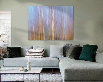 Abstracte impressie van een berkenbos van Kristof Lauwers