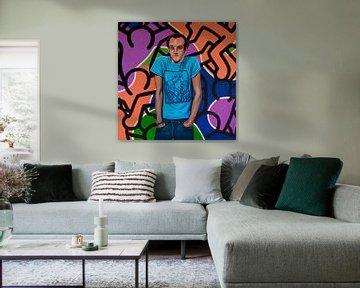 Portrait de Keith Haring sur Paul Meijering