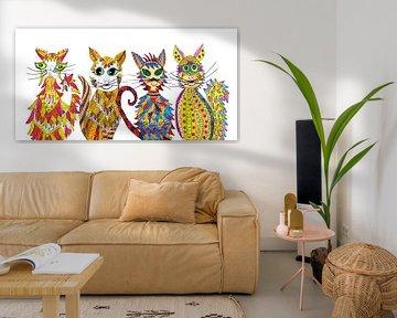 Vier katten van Inge Knol
