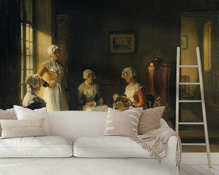 Sfeerimpressie behang: Women Polishing Brass van Antonije Lazovic