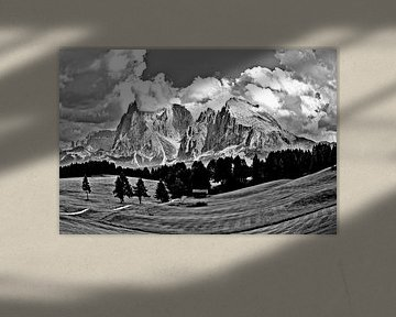 Blick über die Seiser Alm in Richtung Langkofel von Rudolf Brandstätter