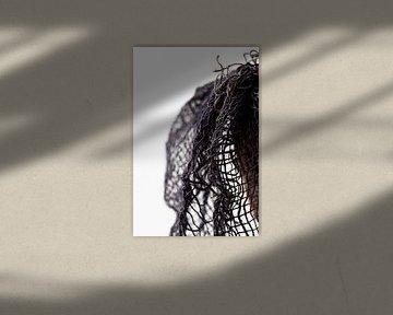 Detail, blauw, Jute, abstract, kunst van Debby Loohuis
