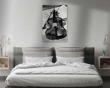 viool met strijkstok en bladmuziek in zwart wit van Klaartje Majoor