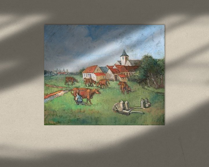 Sfeerimpressie: Koeien melken - Olieverf op doek - Pieter Ringoot van Galerie Ringoot