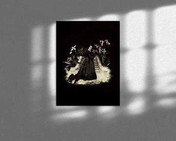 Une femme gothique dans les escaliers avec des corbeaux sur Uta Naumann