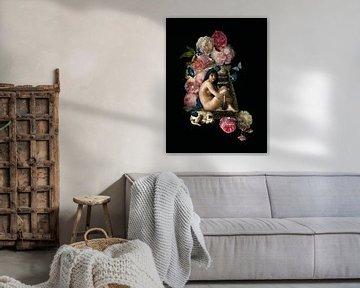 Venus mit Blumen und schlafendem Hund auf Treppe von Uta Naumann