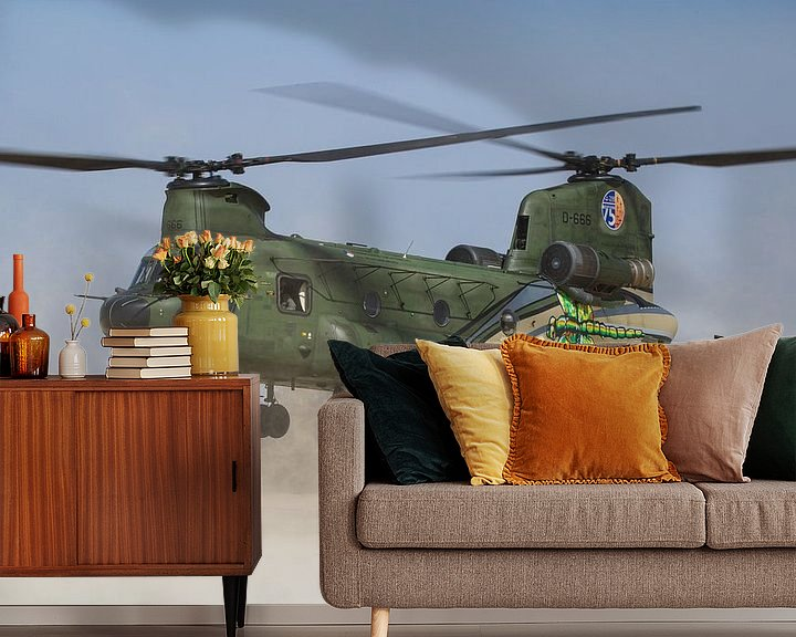 Sfeerimpressie behang: Koninklijke Luchtmacht CH-47 Chinook van Dirk Jan de Ridder