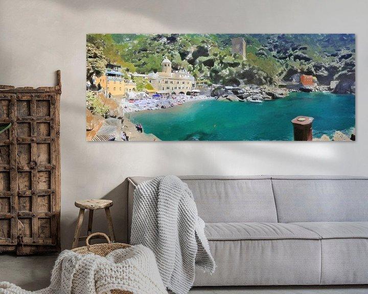 Sfeerimpressie: San Fruttuoso Italië Panaroma - Schilderij van Schildersatelier van der Ven