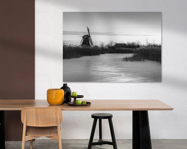 Sfeerimpressie: Noordermolen in zwart wit van Marga Vroom