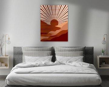 Retro-inspiriertes Poster im Boho-Stil im Querformat. Collage aus einfachen Formen und isolierten Te von Dina Dankers
