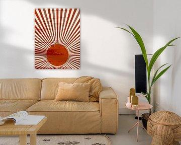 Retro inspiriertes Poster im Boho-Stil. Sunburst in warmen Terrakotta-Farben. Minimalistische modern von Dina Dankers