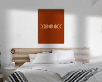 Retro-Poster mit Mond. Boho-Stil. Nr. 8 von Dina Dankers
