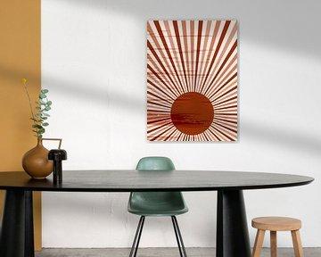 Retro inspiriertes Poster im Boho-Stil. Sun Burst in warmen Terrakotta-Farben. Nr.1 von Dina Dankers