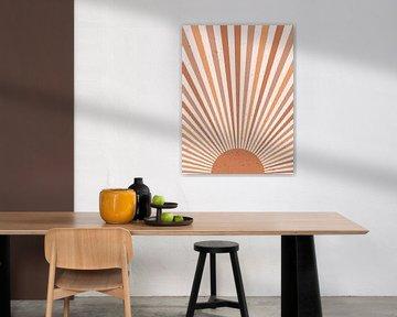 Retro inspiriertes Poster im Boho-Stil. Sun Burst in warmen Terrakotta-Farben. Minimalistische moder von Dina Dankers