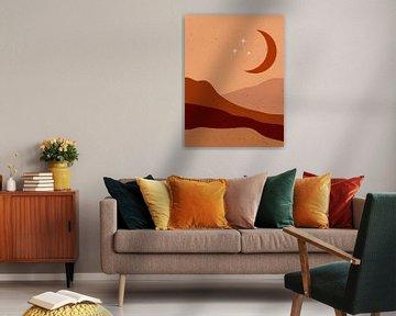 Retro-Poster im Boho-Stil. Mond in den Bergen .Nr.7 von Dina Dankers