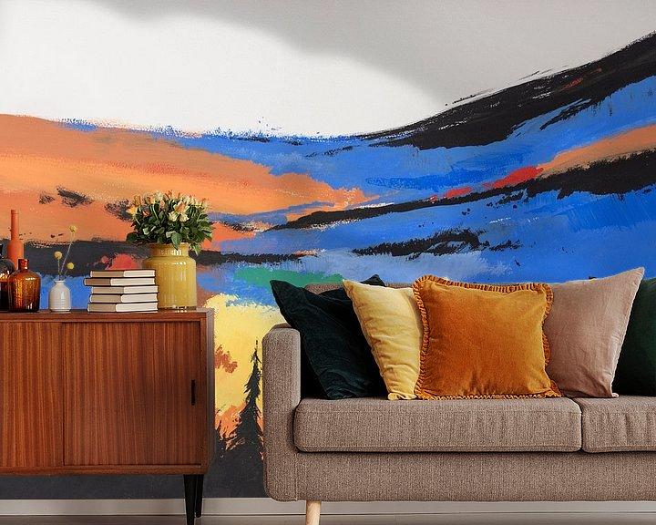 Sfeerimpressie behang: Hans Sturris - Unknown valley - reproductie van Galerie Ringoot