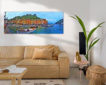 Panorama Portofino Italien - Cartoon Malerei von Schildersatelier van der Ven