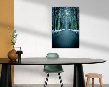 Weg in een besneeuwde winter Beukenbos tijdens een koude winterdag van Sjoerd van der Wal