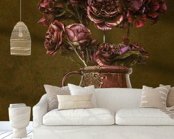 Sfeerimpressie behang: Stilleven bloemen in vaas van Jessica Berendsen