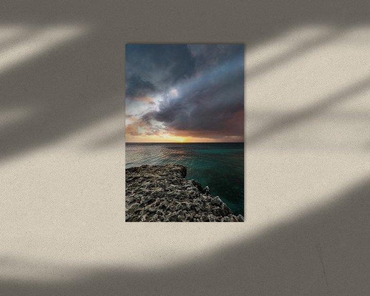 Impression: Coucher de soleil impressionnant le long de la côte nord d'Aruba sur Arthur Puls Photography