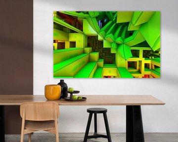 driedimensionale trap in het groen van W J Kok