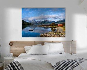 Uitzicht aan een fjord van Joke Beers-Blom