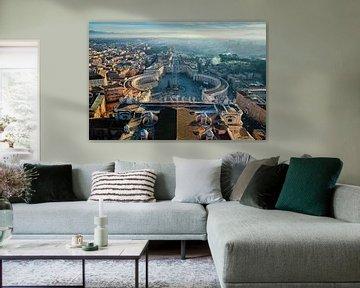 Zonsopgang bij St. Pietersplein, Vaticaanstad, Rome, Italië van Sebastian Rollé - travel, nature & landscape photography
