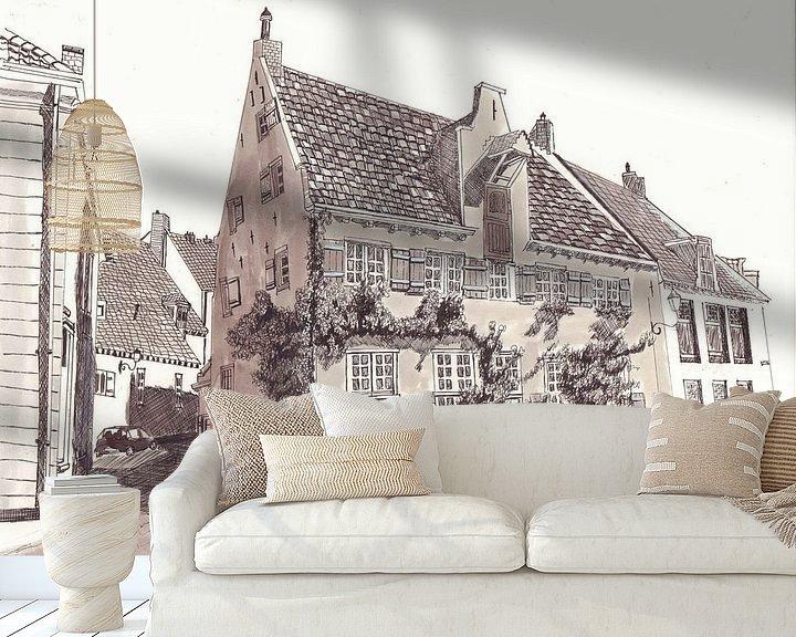 Sfeerimpressie behang: amersfoort huis met klimop van djcartsupplies