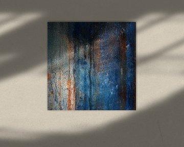Abstract in blauw oranje van Annemie Hiele