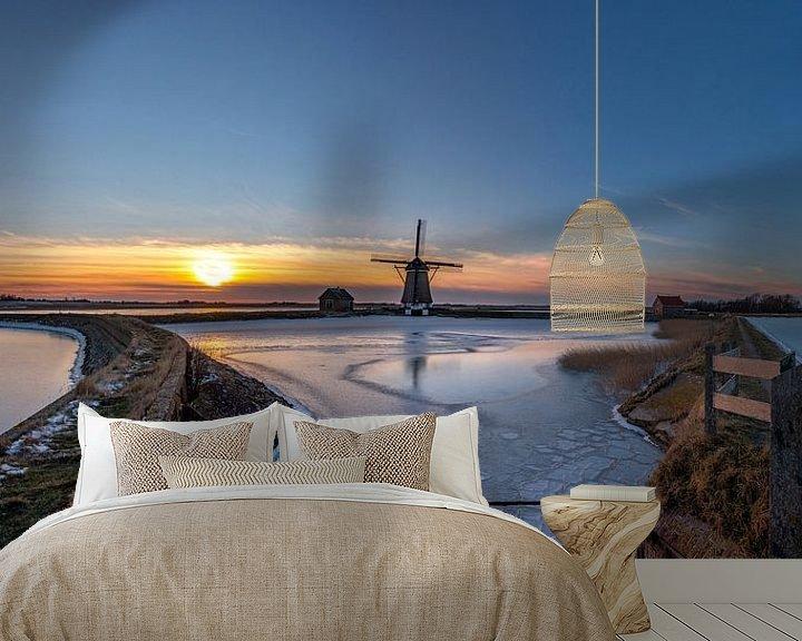 Sfeerimpressie behang: Molen het Noorden Texel winterlandschap van Texel360Fotografie Richard Heerschap