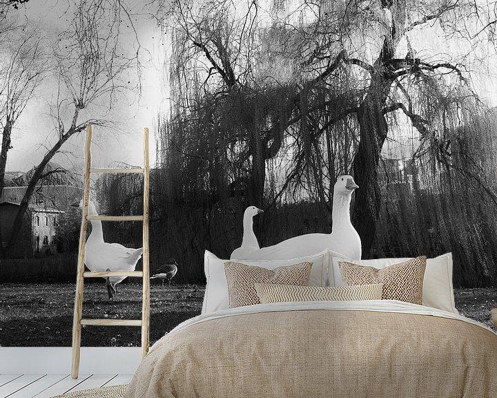 Sfeerimpressie behang: Ganzen in de avondzon van Charlotte Dirkse