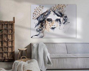 Aquarelle femme avec ombellifère abstraite sur Bianca ter Riet