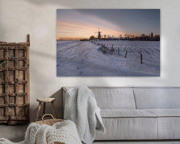 Molen in winterlandschap van Moetwil en van Dijk - Fotografie
