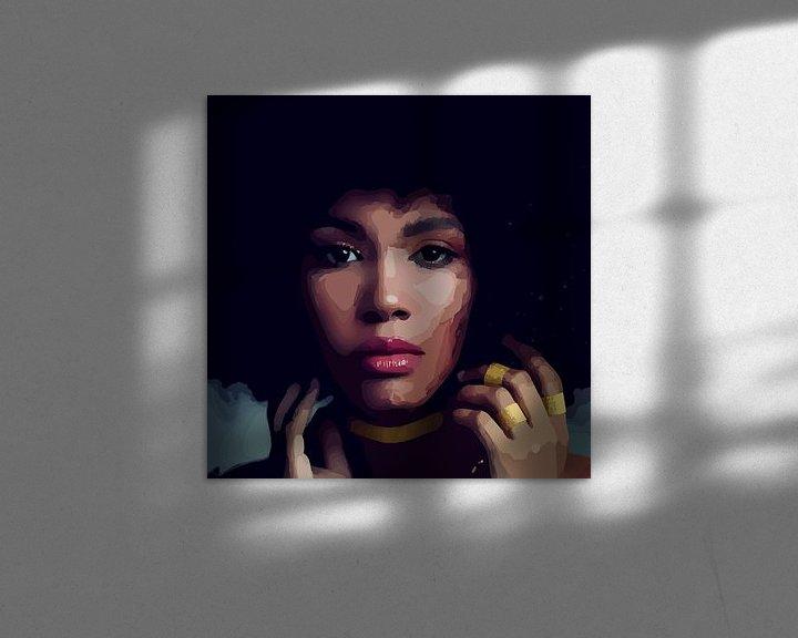 """Sfeerimpressie: """"Etnische perfectie"""" - Prachtige jonge zwarte vrouw met Afro haar met mooi gezicht, prachtige ogen e van The Art Kroep"""
