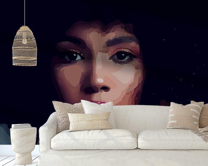 """Sfeerimpressie behang: """"Etnische perfectie"""" - Prachtige jonge zwarte vrouw met Afro haar met mooi gezicht, prachtige ogen e van The Art Kroep"""