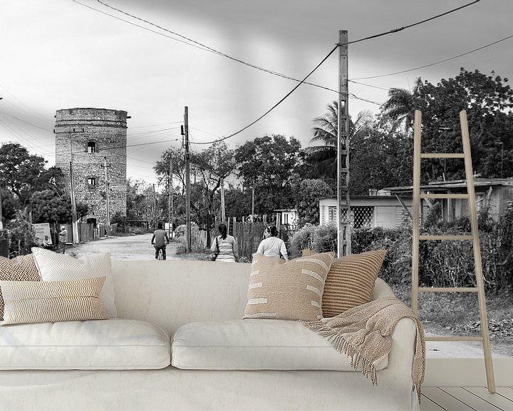 Beispiel fototapete: Landleben in Kuba - schwarz weiß Bild von Urlaubswelt